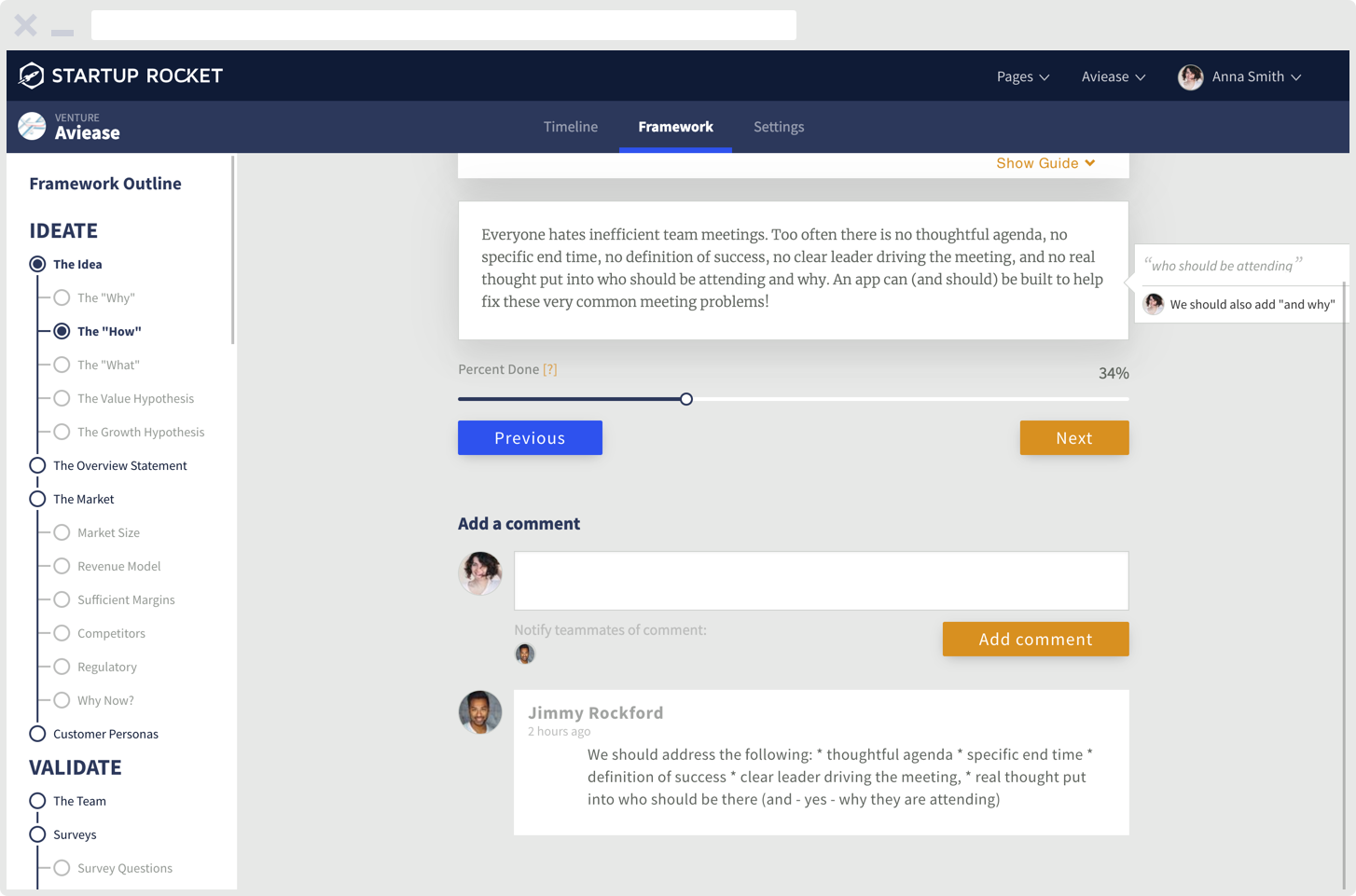 Screenshot of product dashboard